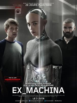 À 26 ans, Caleb est un des plus brillants codeurs que compte BlueBook, plus important moteur de recherche Internet au monde.  À ce titre, il remporte un séjour d'une semaine dans la résidence du grand patron à la montagne.  Mais quand Caleb arrive dans la demeure isolée, il découvre qu'il va devoir participer à une expérience troublante  : interagir avec le représentant d'une nouvelle intelligence artificielle apparaissant sous les traits d'une très jolie femme robot prénommée Ava.  Film britannique de Alex Garland, sorti en France le 3 juin 2015, avec Domhnall Gleeson, Alicia Vikander, Oscar Isaac et Sonoya Mizuno.