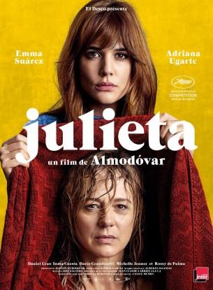 Julieta s'apprête à quitter Madrid définitivement lorsqu'une rencontre fortuite avec Bea, l'amie d'enfance de sa fille Antía la pousse à changer ses projets.  Bea lui apprend qu'elle a croisé Antía une semaine plus tôt.  Julieta se met alors à nourrir l'espoir de retrouvailles avec sa fille qu'elle n'a pas vu depuis des années.  Elle décide de lui écrire tout ce qu'elle a gardé secret depuis toujours.  Film espagnol de Pedro Almodóvar, sorti en France le 18 mai 2016, avec Emma Suárez, Adriana Ugarte, Daniel Grao, Inma Cuesta, Dario Grandinetti et Rossy de Palma.  LIRE LA CRITIQUE