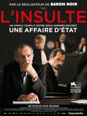 A Beyrouth, de nos jours, une insulte proférée sur la voie publique qui dégénère conduit Toni (chrétien libanais) et Yasser (réfugié palestinien) devant les tribunaux. De blessures secrètes en révélations, l'affrontement des avocats porte le Liban au bord de l'explosion sociale mais oblige ces deux hommes à se regarder en face.  Film franco-libanais de Ziad Doueiri, sorti en France le 31 janvier 2018, avec Adel Karam, Rita Hayek, Kamel El Basha et Christine Choueiri.  LIRE LA CRITIQUE