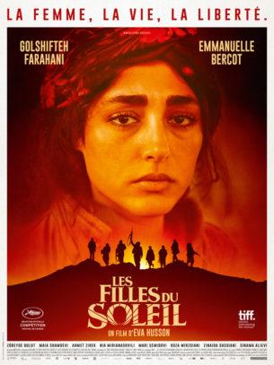 Au Kurdistan syrien, Bahar, commandante du bataillon Les Filles du Soleil, se prépare à libérer sa ville des mains des extrémistes, avec l'espoir de retrouver son fils.  Une journaliste française, Mathilde, vient couvrir l'offensive et témoigner de l'histoire de ces guerrières d'exception.  Depuis que leur vie a basculé, toutes se battent pour la même cause : la femme, la vie, la liberté.  Film français de Eva Husson, sorti en France le 21 novembre 2018, avec Golshifteh Farahani, Emmanuelle Bercot et Zübeyde Bulut.  LIRE LA CRITIQUE